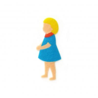 青い服の女の子のアップリケ(ワッペン)