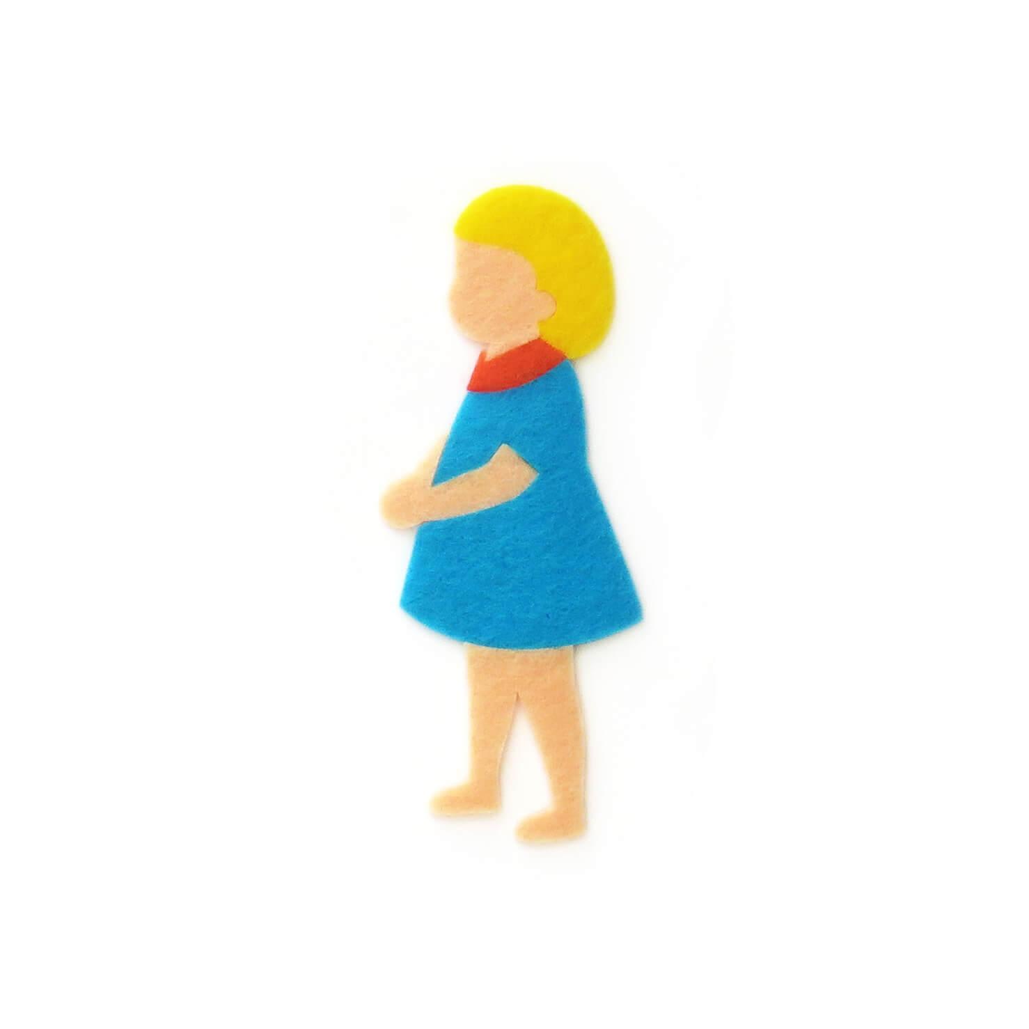 おしゃれなフェルトの青い服の女の子のアップリケ(ワッペン)