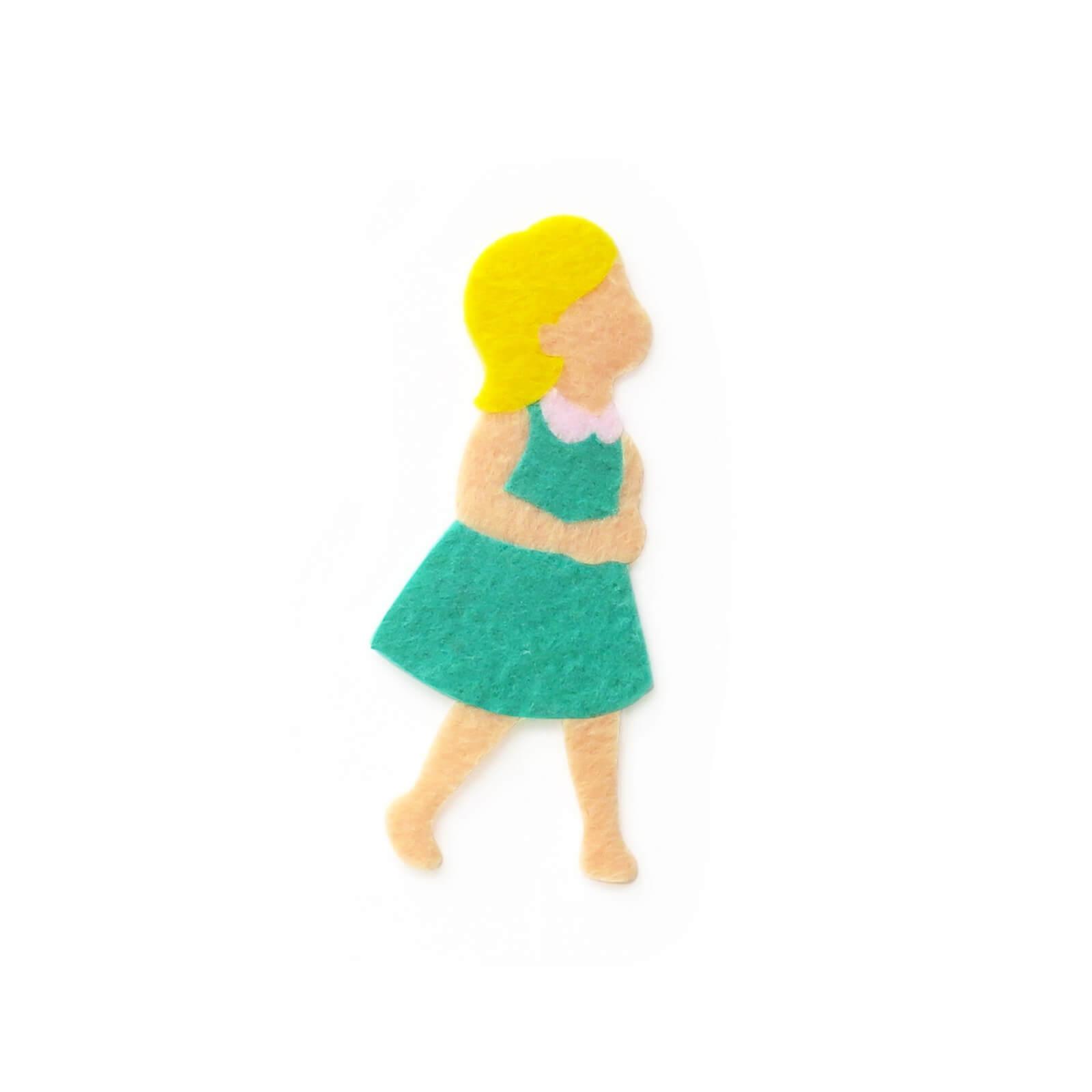 おしゃれなフェルトのエメラルド服の女の子のアップリケ(ワッペン)