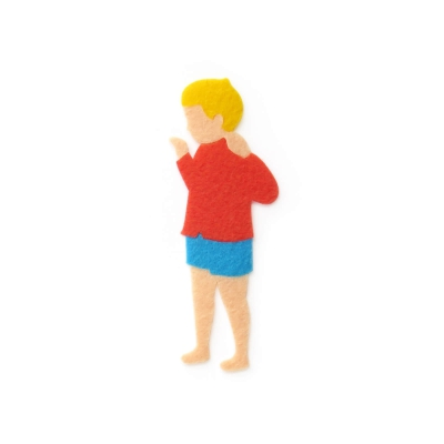 おしゃれなフェルトの赤い服の男の子のアップリケ(ワッペン)