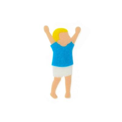 おしゃれなフェルトの青い服の男の子のアップリケ(ワッペン)
