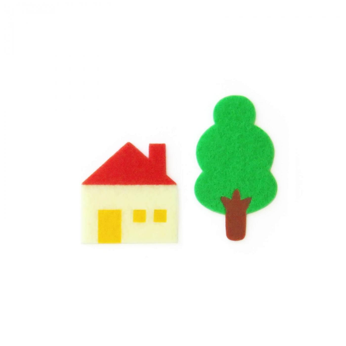 おしゃれなフェルトの木と家のアップリケ(ワッペン)