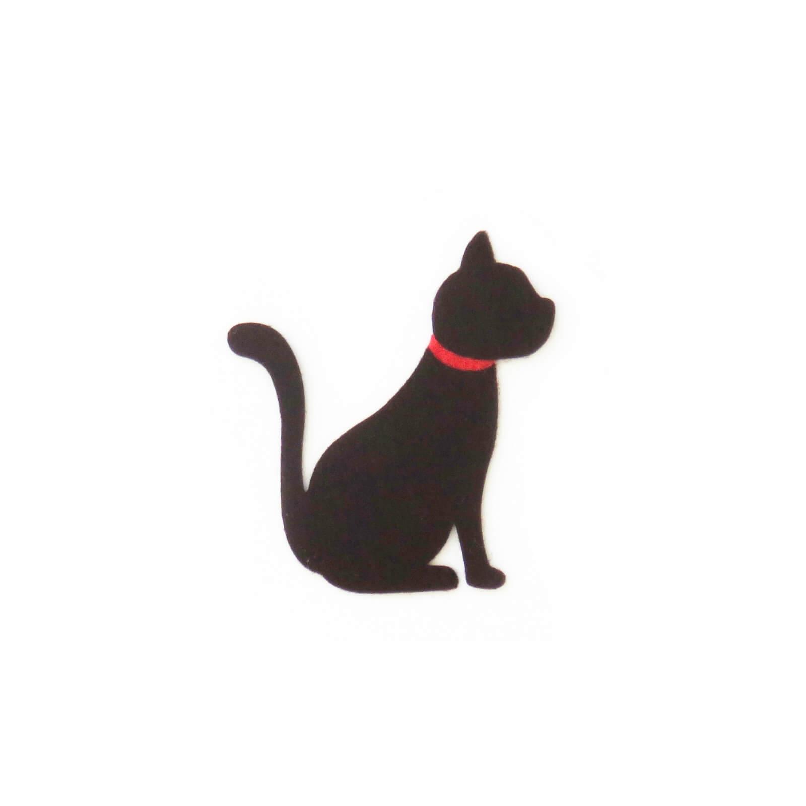 おしゃれなフェルトの猫のアップリケ(ワッペン)