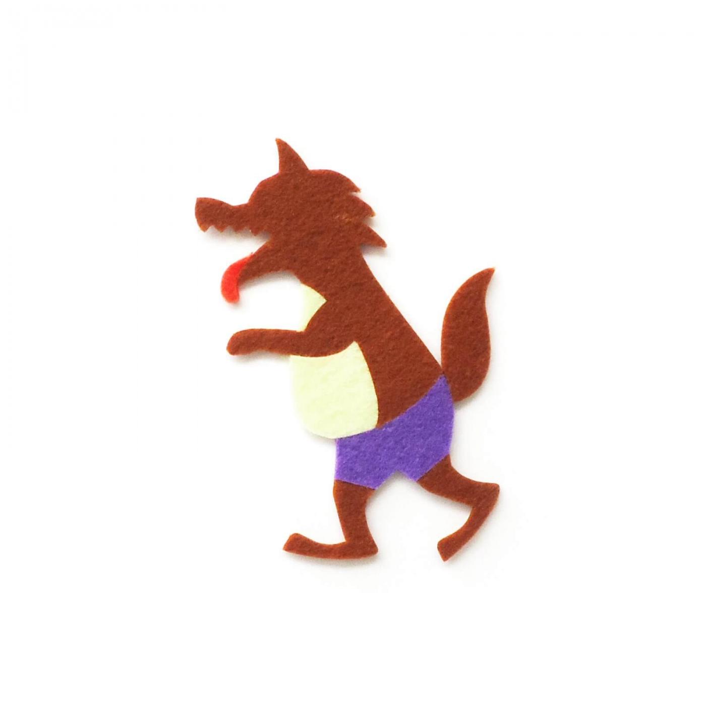 おしゃれなフェルトのオオカミのアップリケ(ワッペン)
