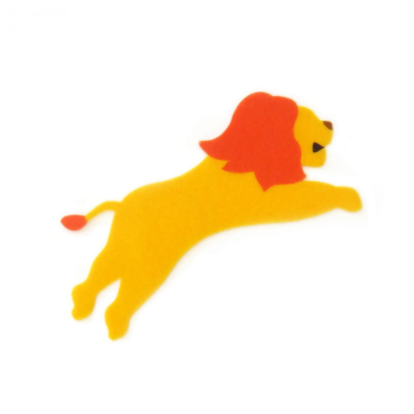 おしゃれなフェルトのライオンのアップリケ(ワッペン)