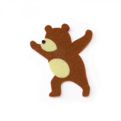 おしゃれなフェルトのクマのアップリケ(ワッペン)