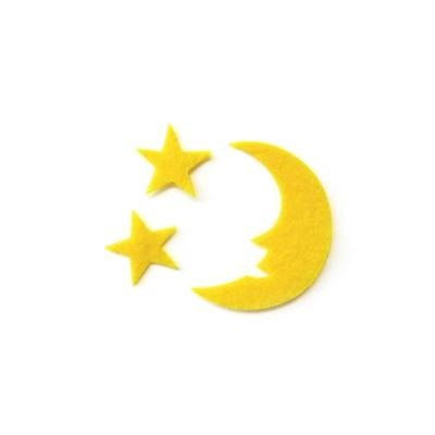 おしゃれなフェルトの月と星のアップリケ(ワッペン)