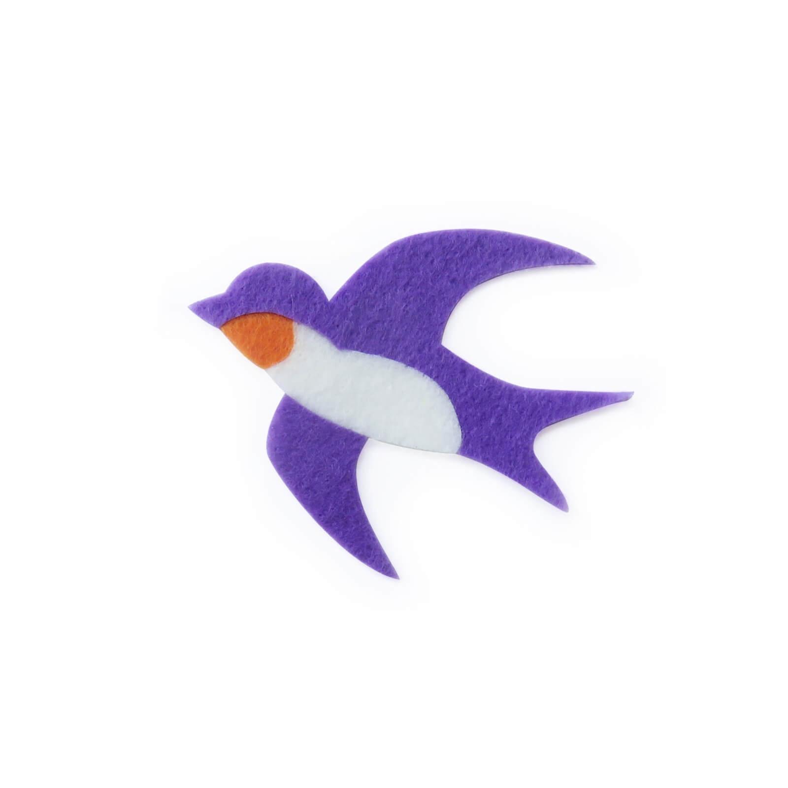 おしゃれなフェルトのツバメのアップリケ(ワッペン)