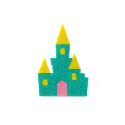 おしゃれなフェルトのお城のアップリケ(ワッペン)