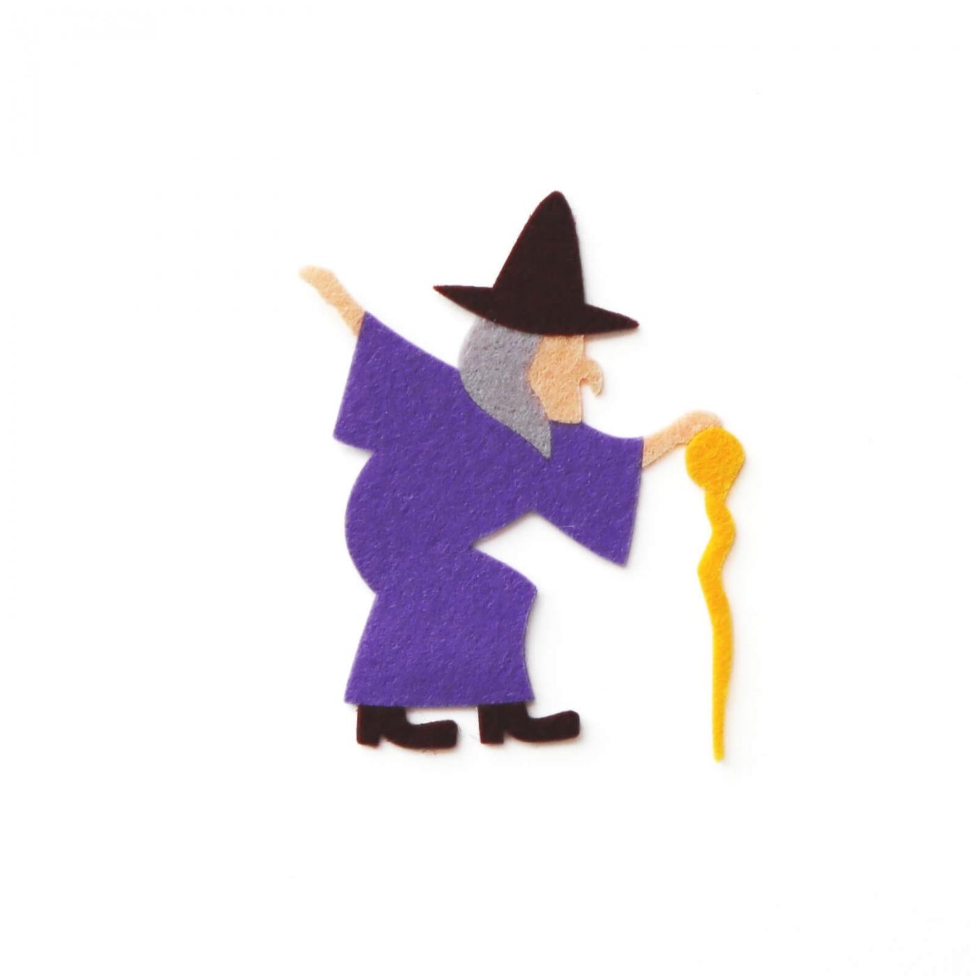 おしゃれなフェルトの魔女のアップリケ(ワッペン)
